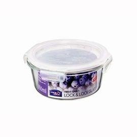 Lock  Lock 樂扣樂扣 耐熱玻璃圓形兩用保鮮盒 紫色包裝白色蓋 ^(650ml 6