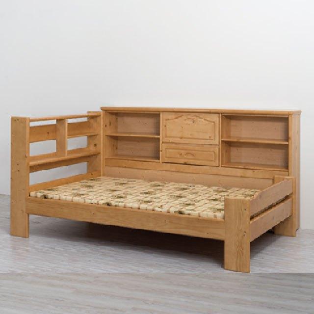 揚龍原木 H168 單人床架 邊櫃