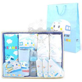 新幹線嬰兒用品竹籃彌月 組毛巾手帕奶瓶圍兜內衣080266通販部