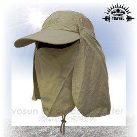 【VOSUN】最新可拆式抗UV肩頸防曬遮陽休閒帽(可調帽圍)/三用帽.防曬帽.遮陽帽.棒球帽(AH-41 卡其)