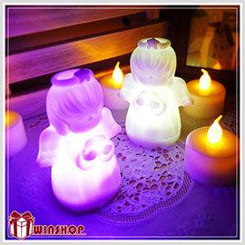 【Q禮品】 A1626 LED七彩天使祈福小夜燈-小/天使之戀/Angel led/天使燈/許願燈/造型燈/裝飾燈,天使造型小夜燈,聖誕佈置