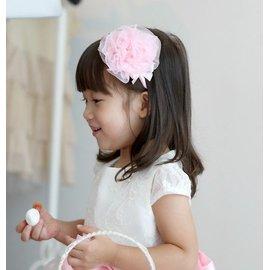 ~P P~ 粉紗花朵結婚禮服 洋裝頭飾 畢業表演氣質髮圈 兒童髮箍 花童髮飾~C04~