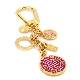 COACH 63136 金燦桃紅水鑽圓形串飾鑰匙圈