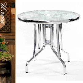 80CM鋁製玻璃圓桌(傘孔) P020-U-3005 (圓茶几.置物桌.洽談桌.餐桌子.休閒桌.庭園桌.傢俱家具傢具特賣會)