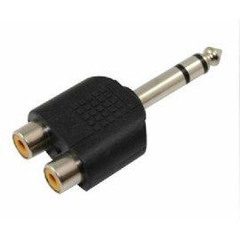 RCA  6.5mm公頭轉AV端子母孔 1公轉2母/1分2 音源轉蓮花頭 轉接器/轉接頭