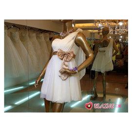 ELAINESHOP○姐妹裙斜肩伴娘禮服短款小禮服新娘結婚敬酒服晚禮服伴娘服^(米白色^)