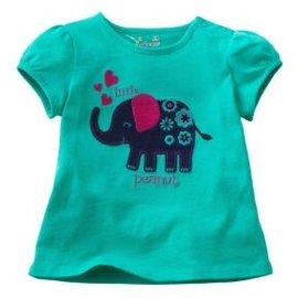 ~美單J牌~土耳其藍色底可愛立體大象繡花貼布短袖T恤^(18M^~6T^)