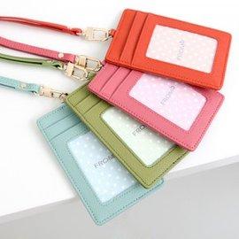 正韓國真皮防刮牛皮頸掛卡片證件套識別證套 藍綠桃玫粉紅橙色黑色金色