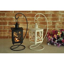 ZAKKA 雜貨 Vintage 歐式古典浪漫 吊掛樹枝鏤空 鐵製玻璃燭台 方形鐵藝玻璃燭