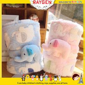 可愛卡通小象珊瑚絨薄款空調毯子/可捲曲收納毯/懶人毯/午睡毯(二色)【HH婦幼館】