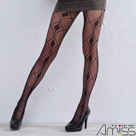 Amiss~襪子 網~~Z406~3~ 無縫^(一體成型^)惹火性感網褲襪~菱格鑽石