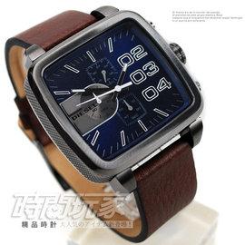 DZ4302 貨DIESEL 三眼多 計時碼錶49mm防水50M男錶 咖啡真皮錶帶 藍面男