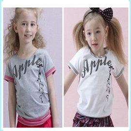 孩子王 ~  專櫃女大 甜心蘋果 少女系列 領口、袖口有滾邊 下有束口 大女孩圓領上衣 白