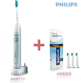 ◤贈替換刷頭HX6023 一組3入◢PHILIPS 飛利浦 音波電動牙刷 HX6711/HX-6711