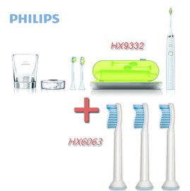 【贈HX6063共5入刷頭+贈牙膏+面膜】PHILIPS 飛利浦 HX9332 / HX-9332 鑽石靚白音波電動牙刷 組合促銷中