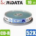 10片 錸德 RiDATA 52X CD~R光碟片 布丁桶