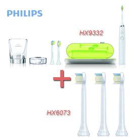 【贈HX6073共5入刷頭+牙膏+面膜】PHILIPS 飛利浦 HX9332 / HX-9332 鑽石靚白音波電動牙刷 組合促銷中