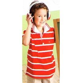 孩子王專櫃 ~ 製 微笑機器人 男大 白色有領條紋Polo衫系列 大男孩上衣 100%棉