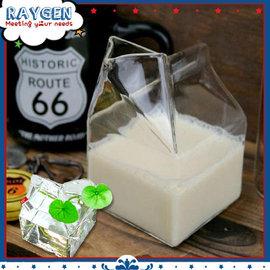 【HH婦幼館】玻璃牛奶盒/奶精壺/新鮮屋/創意早餐下午茶牛奶杯
