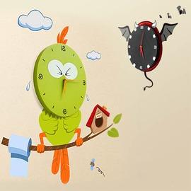 天天網 家居 卡通兒童房臥室客廳表 3D卡通DIY花顏環保牆貼掛鐘 多款^(260166~