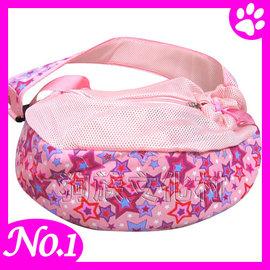 ~ 透氣寵物側背包,寵物外出包袋鼠包~粉紅星星 牛仔星星~ 5kg以內寵物^~捷運高鐵火車