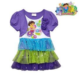 美國DORA方格亮片蛋糕裙~長版~款假二件式短袖上衣^(110cm ^)官網同步販賣…