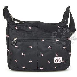 Hello Kitty 蝴蝶 多圖 黑色 側背包 ~大 590250通販部
