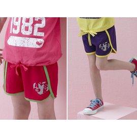 孩子王 ^~  專櫃 甜心蘋果 彩條邊 愛心蘋果圖 大女 全鬆緊褲頭 超短休閒褲 桃紅、紫