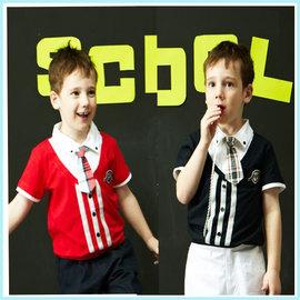 孩子王專櫃 ~   KP 中大男  英國學院風領帶 假2件式下束口 有領Polo衫上衣 紅