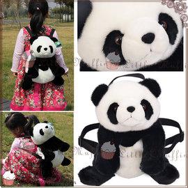 立體毛茸茸熊貓娃娃玩偶 雙肩後背包 可調整 團團圓圓 圓仔 貓熊 ^~bag010^~~L