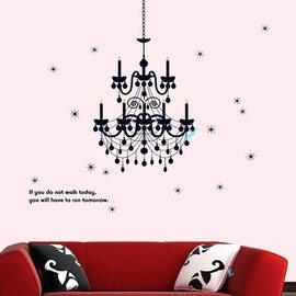 華麗水晶燈 第三代可移除牆貼~可重覆撕貼! 大型客廳電視牆 臥室兒童房 沙發背景/壁貼/壁紙牆紙/牆角貼