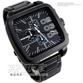 DZ4300 DIESEL 三眼錶 方型 IP黑鋼 噴砂處理 49mm 男錶