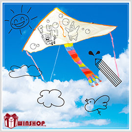 【winshop】A1701 DIY彩繪空白風箏(大)/彩繪風箏材料包 DIY彩繪風箏 空白風箏 勞作用品彩繪風箏 教學風箏