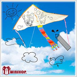 【Q禮品】B1706 DIY彩繪空白風箏(小)/彩繪風箏材料包 DIY彩繪風箏 空白風箏 勞作用品彩繪風箏 教學風箏