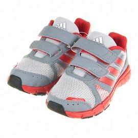 6折出清~Adidas~中大童黏扣休閒運動鞋-灰/紅 (G96020)