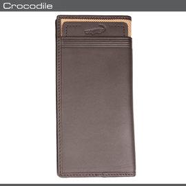 Crocodile 鱷魚 皮夾  長夾 0103~47012 咖啡色 真皮配布長夾 MyB