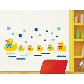 可愛黃小鴨/黃色小鴨 第三代可移除牆貼~可重覆撕貼! 大型客廳電視牆 臥室兒童房 沙發背景/壁貼/壁紙牆紙/牆角貼
