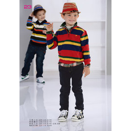 BABYKING 2297條紋上衣^(紅色^)100cm^~150cm