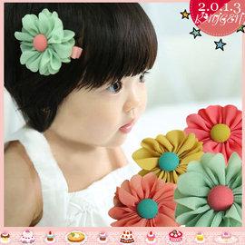 女童嬰兒雙色太陽花邊髮夾/釦子花朵髮帶(四色)【HH婦幼館】