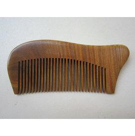 綠檀木梳細齒梳傳統工藝攜帶方便手握舒適