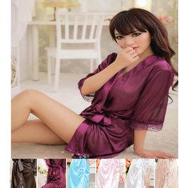 (特賣)無法抗拒☆ 亮面柔緞和服式睡袍         ◇/冰絲睡衣 浴袍性感嫵媚浴衣