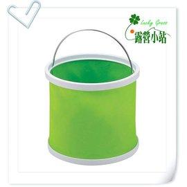大林小草~【H-2970】CAPTAIN STAG 日本鹿牌折疊水桶9L 綠色 可收納式水箱 手提水筒9公升