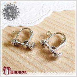 【Q禮品】A1765 DIY鎖頭旋轉夾式耳環/耳飾 首飾 手工耳環 DIY飾品 飾品零件 耳夾式耳環 贈品禮品