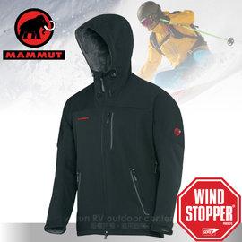 【瑞士 MAMMUT 長毛象】男 新款 Ultimate Inuit Jacket Windstopper 防風透氣連帽軟殼外套(長刷毛-加保暖)Gore 潑防水 13930  黑