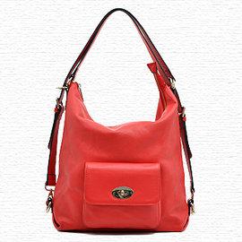 ~YULEE真皮包包~美版休閒鈕扣口袋真皮背包~紅WH~C080~51