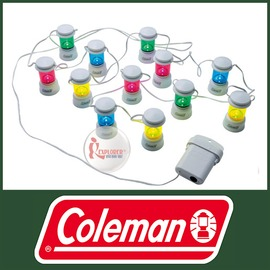 探險家戶外用品㊣CM-3164美國Coleman LED彩色鏈燈(12入) 小夜燈 LED營燈 氣氛燈 聖誕裝飾燈