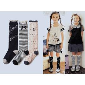^~韓風童品^~ 款^(3雙 組^)女童音符 條紋蝴蝶結 點點 高筒襪 兒童純棉襪 圓點圖