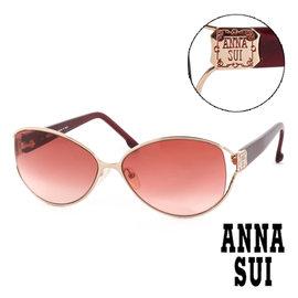 Anna Sui 安娜蘇 復古 金屬雕刻 太陽眼鏡^(酒紅^) AS64703