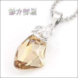 ^~ ^~ 魅力部屋 ^~ ^~ 925銀鑲鑽天鵝夾扣元寶水晶吊墜^(金香檳^)12010
