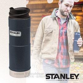 【美國 STANLEY】Classic經典系列 單手保溫咖啡杯.雙層不鏽鋼保溫瓶0.47L.保溫水壺.保溫杯.單手杯/ 304食用不鏽鋼/ 10-01394 錘紋藍